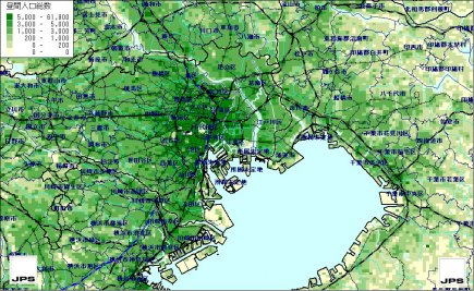 H12国勢調査-H13経済センサス等リンク地域メッシュ統計昼間人口 ...